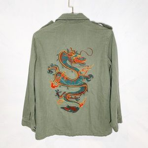 Honey Punch Dragon Embroidered Utility Coat Small